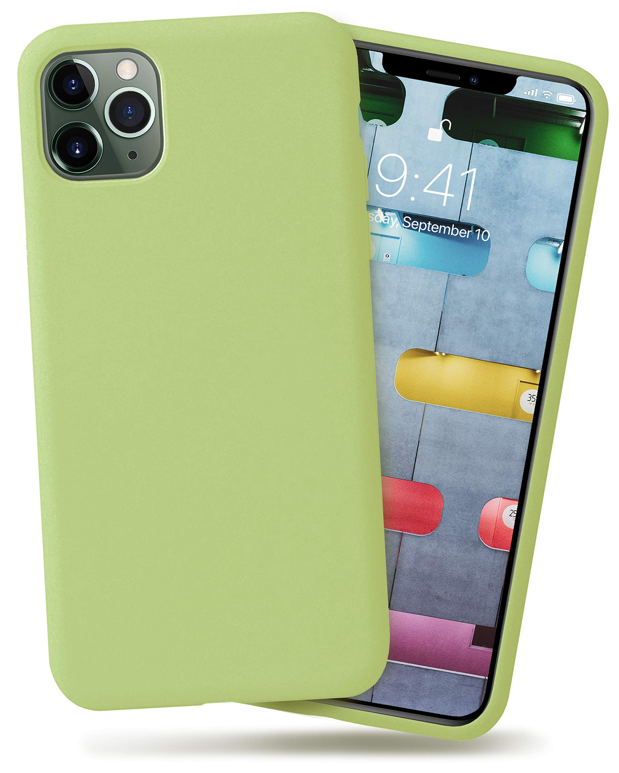 OCOMMO iPhone 11 Pro Silicone Case, Full Body Shockproof Protective Liquid Silicone iPhone 11 Pro Case with Soft Microfiber Lining, Wireless Charging Pad Compatible, Matcha Green