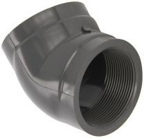 """GF Piping Systems PVC Pipe Fitting, 45 Degree Elbow, Schedule 80, Gray, 3/4"""" NPT Female"""