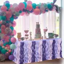 Purple Curly Willow Table Skirting Mermaid 9ft Lace Taffeta Table Skirt Tutu Tulle Table Skirt for Round or Rectangle Table for Birthday, Wedding, Party Decoration Supplies