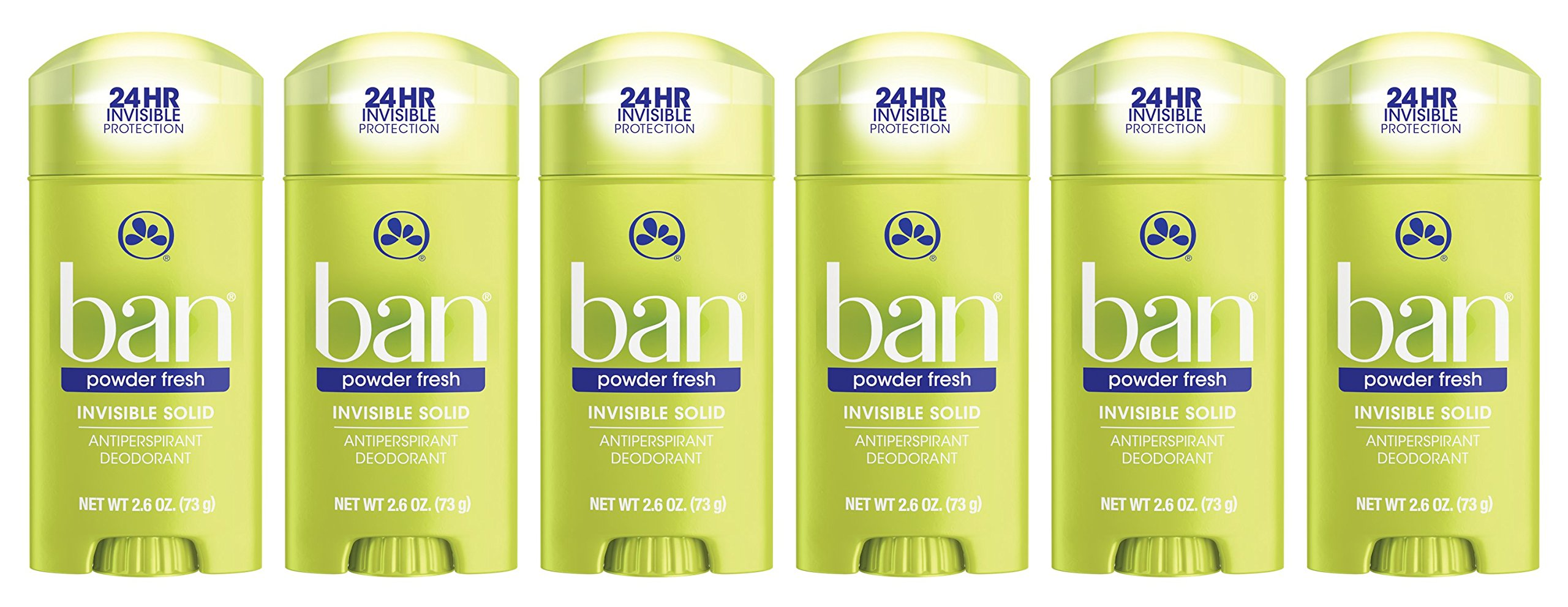 Ban Antiperspirant Deodorant, Invisible Solid, Powder Fresh, 2.6 Ounce (Pack of 6)