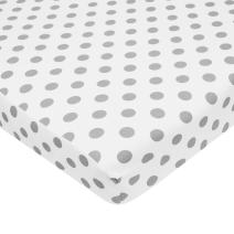 American Baby Company 100% Natural Cotton Percale Fitted Portable/Mini Crib Sheet, White with Gray Dot, Soft Breathable, for Boys and Girls