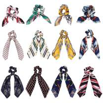 LOYALLOOK 12Pcs Bowknot Silk Satin Hair Scrunchies Elastics Satin Hair Ties Scarf Pearl Silk Hair Bobbles for Ponytail Holder Hair Accessories for Women