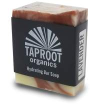 TAPROOT ORGANICS - Lavender Cold Process Bar Soap for Body and Face Handmade for Sensitive Skin with Organic and Food Grade Ingredients. (Vegan)