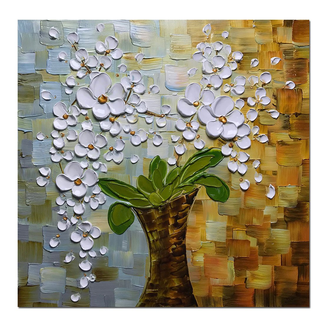 Asdam Art - 100% Hand-Painted 3D Paintings Beauty of Life Modern Wall Art for Dinning Living Room Bedroom Flower Artwork Abstract Pictures Floral Oil Painting on Canvas(24X24inch)