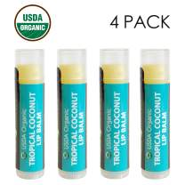 USDA Organic Lip Balm by Sky Organics - 4 Pack Coconut Lip Balms With Beeswax, Coconut Oil, Vitamin E. Best Lip Plumper Chapstick for Dry Lips- Adults & Kids Lip Repair Made In USA (Tropical Coconut)