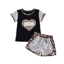 Fullvigor Toddler Baby Girl Summer Clothes Sequins Pocket Knitted Short Sleeve T-Shirts+Shorts Set Outfit 2Pcs