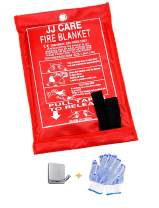 """JJ CARE Fire Blanket Emergency Fire Suppression Blanket Fiberglass Cloth (40""""x40"""") Flame Retardant Blanket Emergency Survival kit with Hook & Glove for Camping, Grilling, Kitchen Safety & Warehouse"""