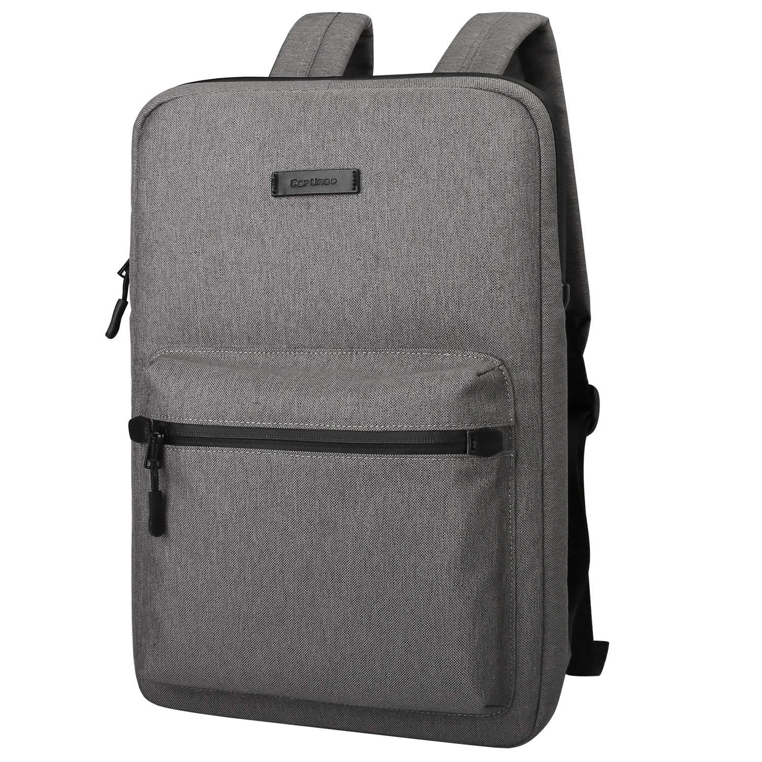 Cartinoe Ultra-Thin Laptop Backpacks,Canvas Lightweight Backpack,Water Resistant College School Computer Bag for Boys and Girls for Travel,Business,Student Daypack,15 15.6 inch Laptop & Notebook,Gray