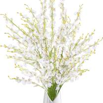 """Greentime 39"""" Dancing Lady Orchids 10 Pcs Artificial Long Stem Flowers for Wedding Home Office Party Hotel Homestay Yard Restaurant Patio Festive Furnishing Flower Arrangement Decor (White)"""
