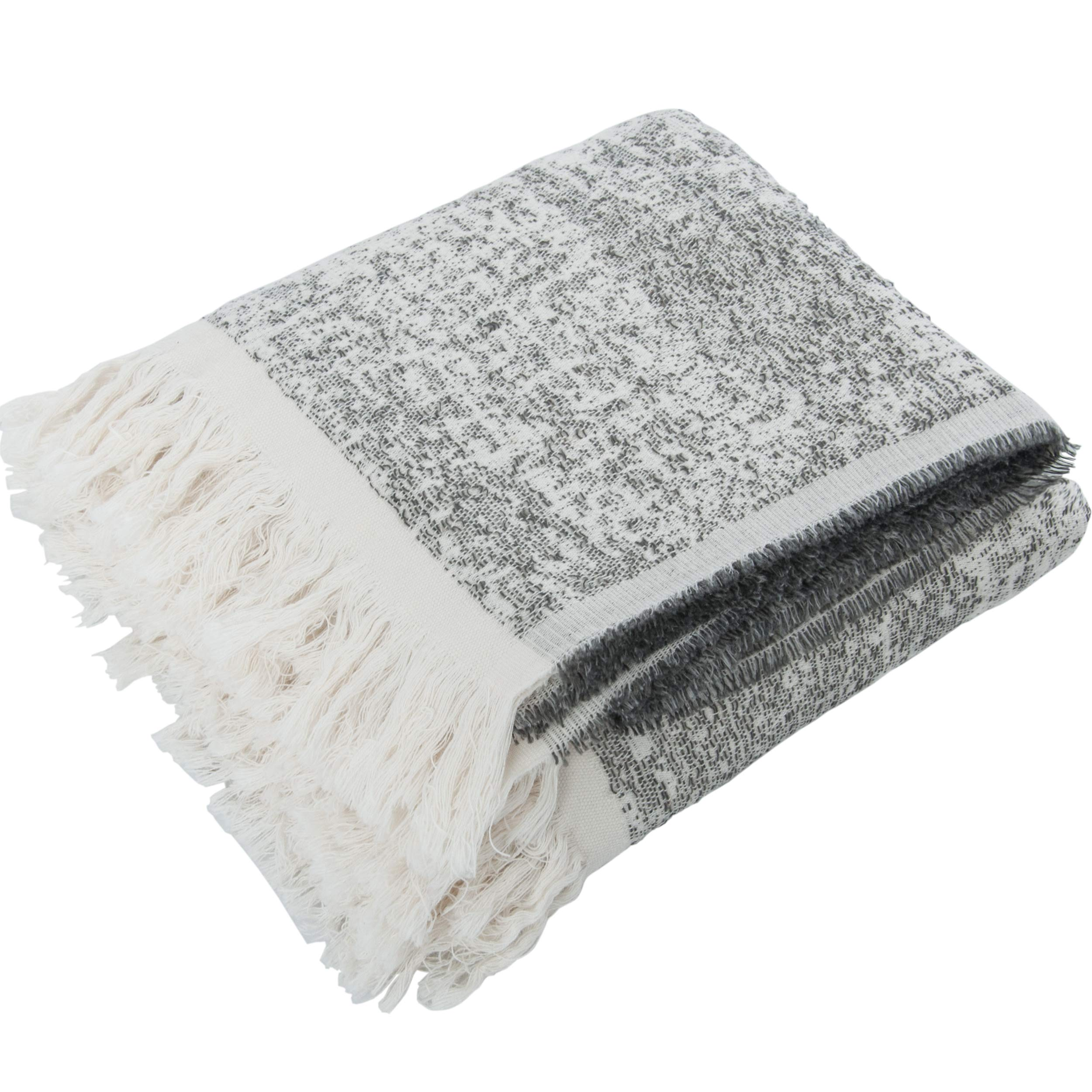 NTBAY Tassel Design Linen Throw, Breathable and Cozy Soft Decorative Reversible Blanket, 59 x 65 Inches, Grey