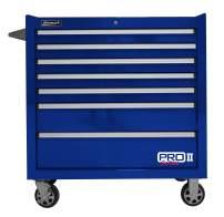 "Homak PRO II Series 36"" 7-Drawer Roller Cabinet, Blue, BL04036072"
