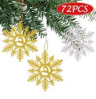 luck sea 72PCS Snowflake Christmas Tree Ornaments Decorations Hanging Decor Xmas Winter Wonderland Holiday Themed Party Supplies