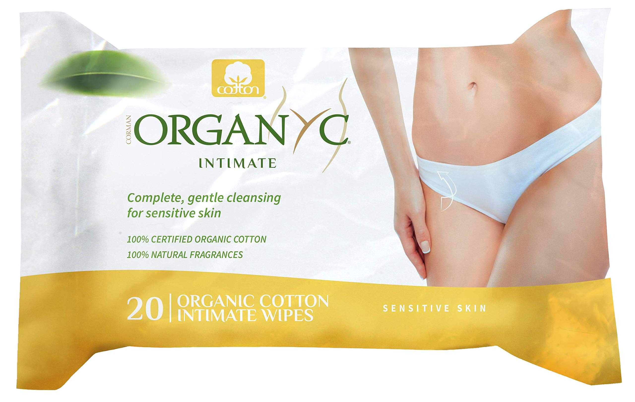 Organyc 100% Organic Cotton Intimate Wet Wipes, 20 Count