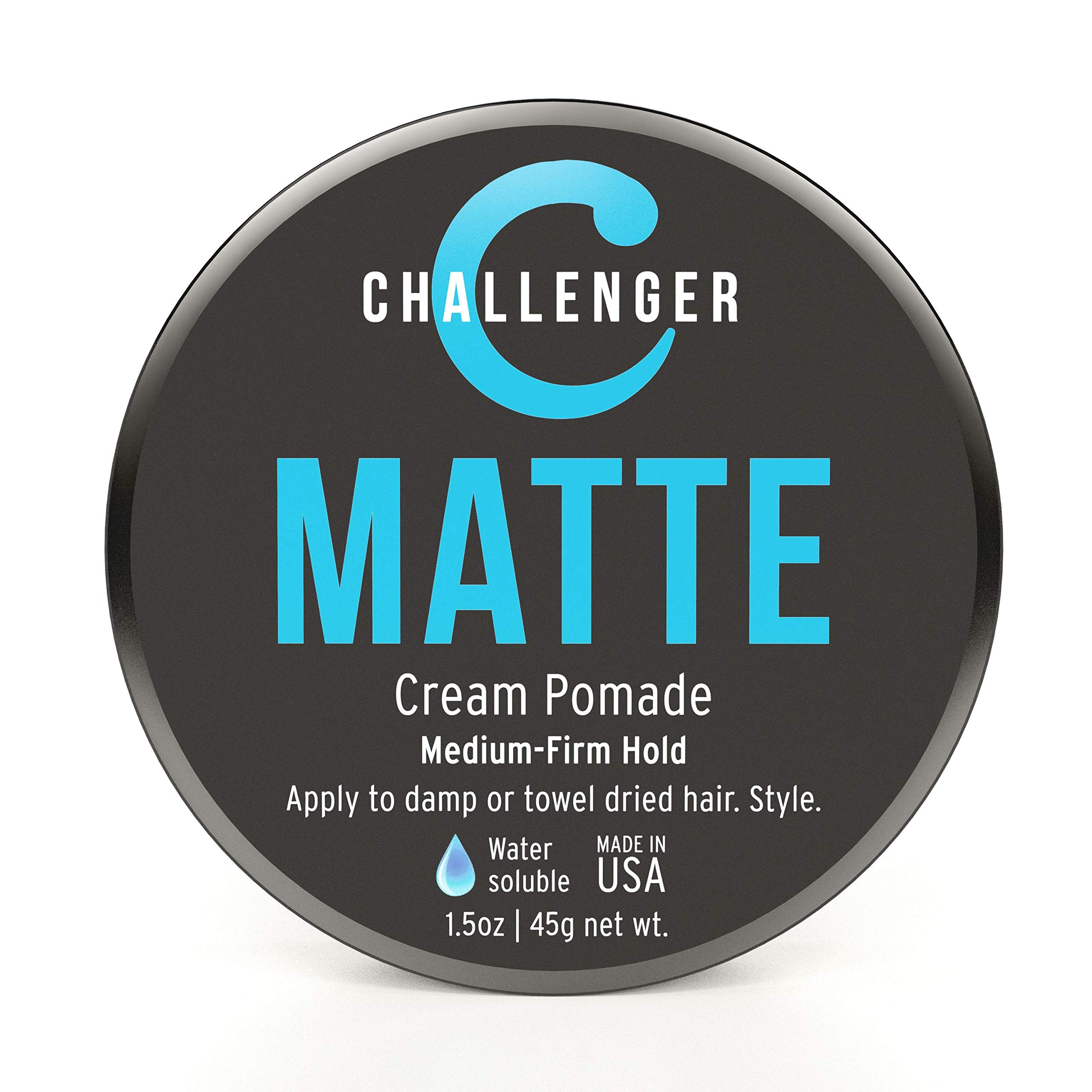 Challenger Men's Matte Cream Pomade, 1.5 Ounce   Natural Finish, Clean & Subtle Scent   Medium Firm Hold   Best Water Based Hair Styling Paste, Wax, Fiber, Clay, Gel All In One