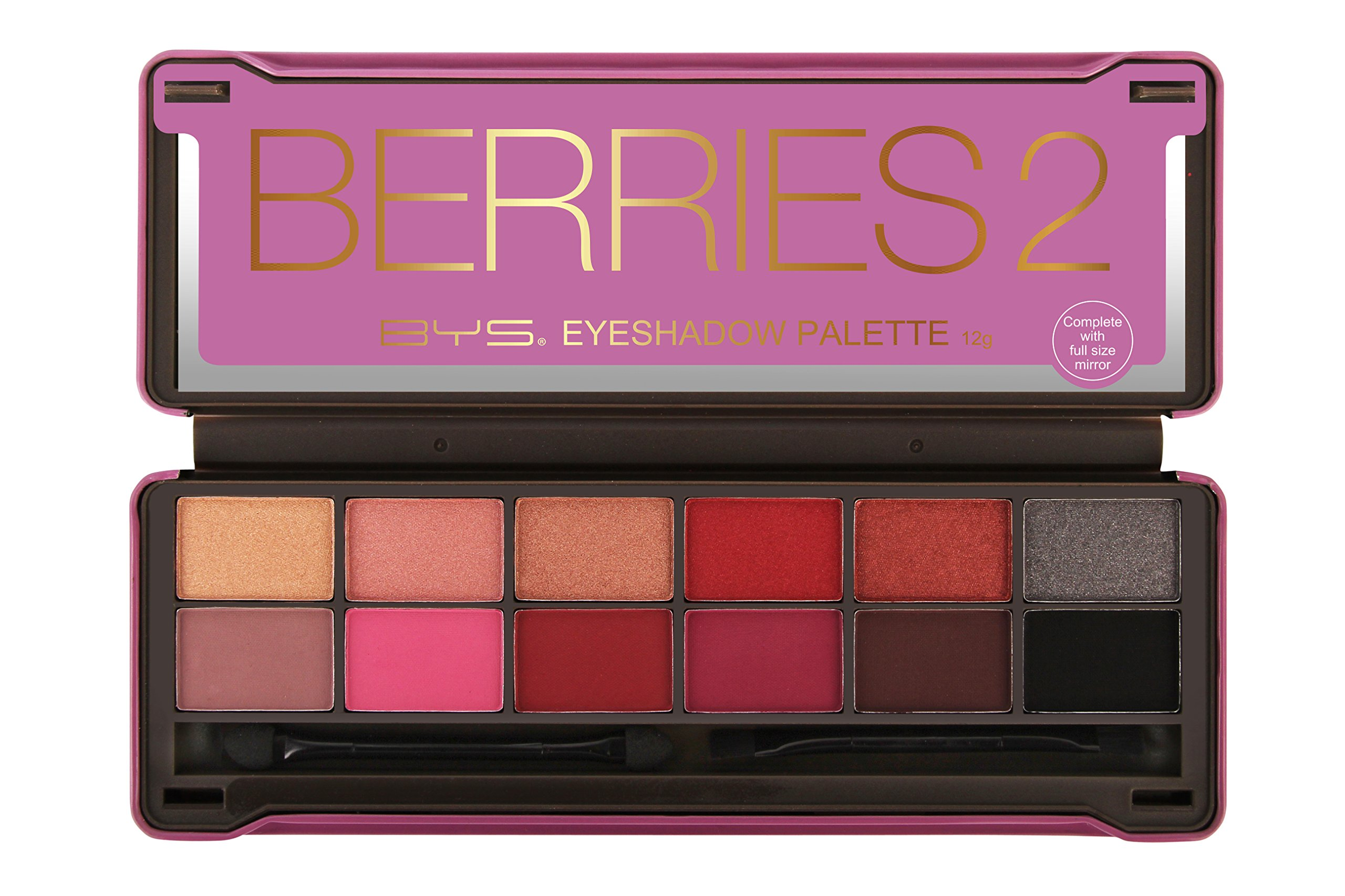 BYS Berries 2 Eyeshadow Palette, 12 Color Collection in Tin Kit with Mirror - Highly Pigmented Matte & Metallic Shades