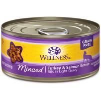 Wellness Natural Grain Free Wet Canned Cat Food Minced Turkey & Salmon