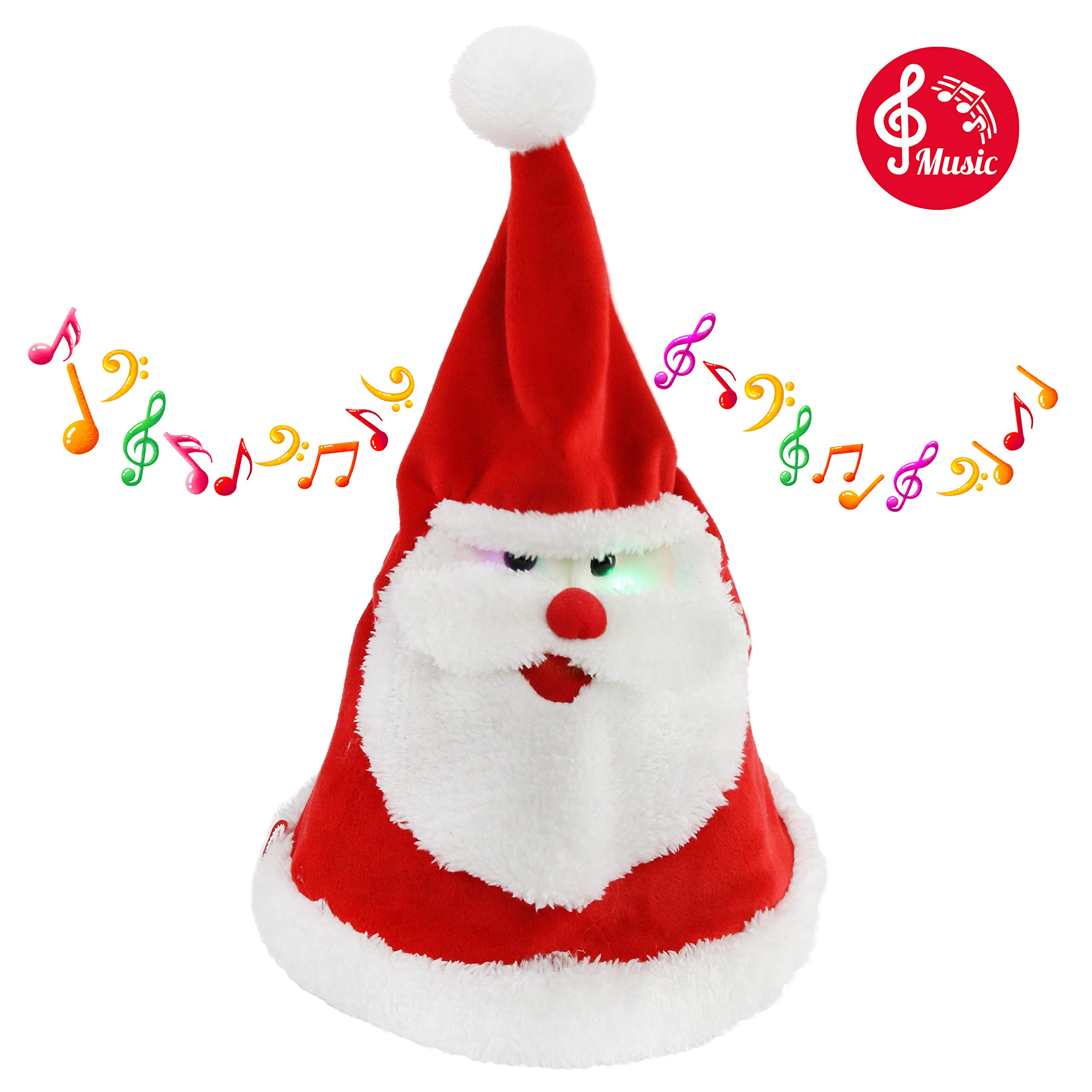 Houwsbaby Glowing Dancing Singing Santa Hat Christmas Interactive Toys with Music Electronic Animated Cap Sing a Song 'Jingle Bell' Funny Xmas Gift for Kids Girls Boys Adults, Red, 14.5'' (Hat)