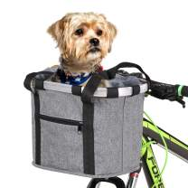 Lixada Bike Basket, Small Pet Cat Dog Carrier Bicycle Handlebar Front Basket - Folding Detachable Removable Easy Install Quick Released Picnic Shopping Bag, Max. Bearing: 15-22lbs