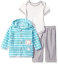 Rene Rofe Baby Baby Boys' 3 Piece Microfleece Jacket & Pant Set with Lap Shoulder Bodysuit