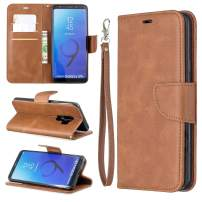 EYZUTAK Wallet Case for Samsung S9 Plus, Soft Printed PU Leather Phone Case Full Protection Solid Color Magnetic Flip Buckle Case Kickstand Cover for Samsung S9 Plus - Brown