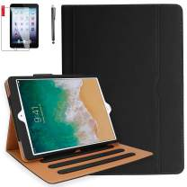 iPad 9.7 2018 2017 / iPad Air 2 / iPad Air Case with Screen Protector and Stylus - Multi-Angle Viewing Folio Cover, Hand Strap, Auto Sleep/Wake, Card Pocket for iPad 5th / 6th Gen (Black)