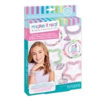 Make It Real - Sparkly Spiral Bracelets - DIY Charm Bracelet Making Kit - Friendship Bracelet Kit with Beads, Charms & Coils - Arts & Crafts Bead Kit for Girls - 70 Piece Kit - Makes 5 Bracelets