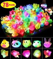 SCIONE Party Favor for Kids Birthday 78 Pack Light Up Rings Glow in The Dark Party Supplies Prizes for Kids Classroom LED Halloween Christmas Light up Toys Jelly Rings