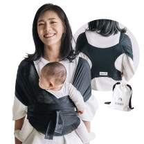Konny Baby Carrier Summer | Ultra-Lightweight, Hassle-Free Baby Wrap Sling | Newborns, Infants to 44 lbs Toddlers | Cool and Breathable Fabric | Sensible Sleep Solution (Black, XS)