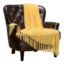 Chanasya Chenille Velvety Texture Decorative Throw Blanket with Tassels Super Soft Cozy Classy Elegant with Shimmer for Sofa Chair Couch Bed Living Bed Room Sunny Throw Blanket (50x65 Inches) Yellow