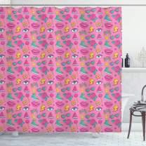 "Ambesonne Emoji Shower Curtain, Retro Style Comic Book Pattern on Pink Backdrop Girlish Pop Art, Cloth Fabric Bathroom Decor Set with Hooks, 70"" Long, Pink Green"
