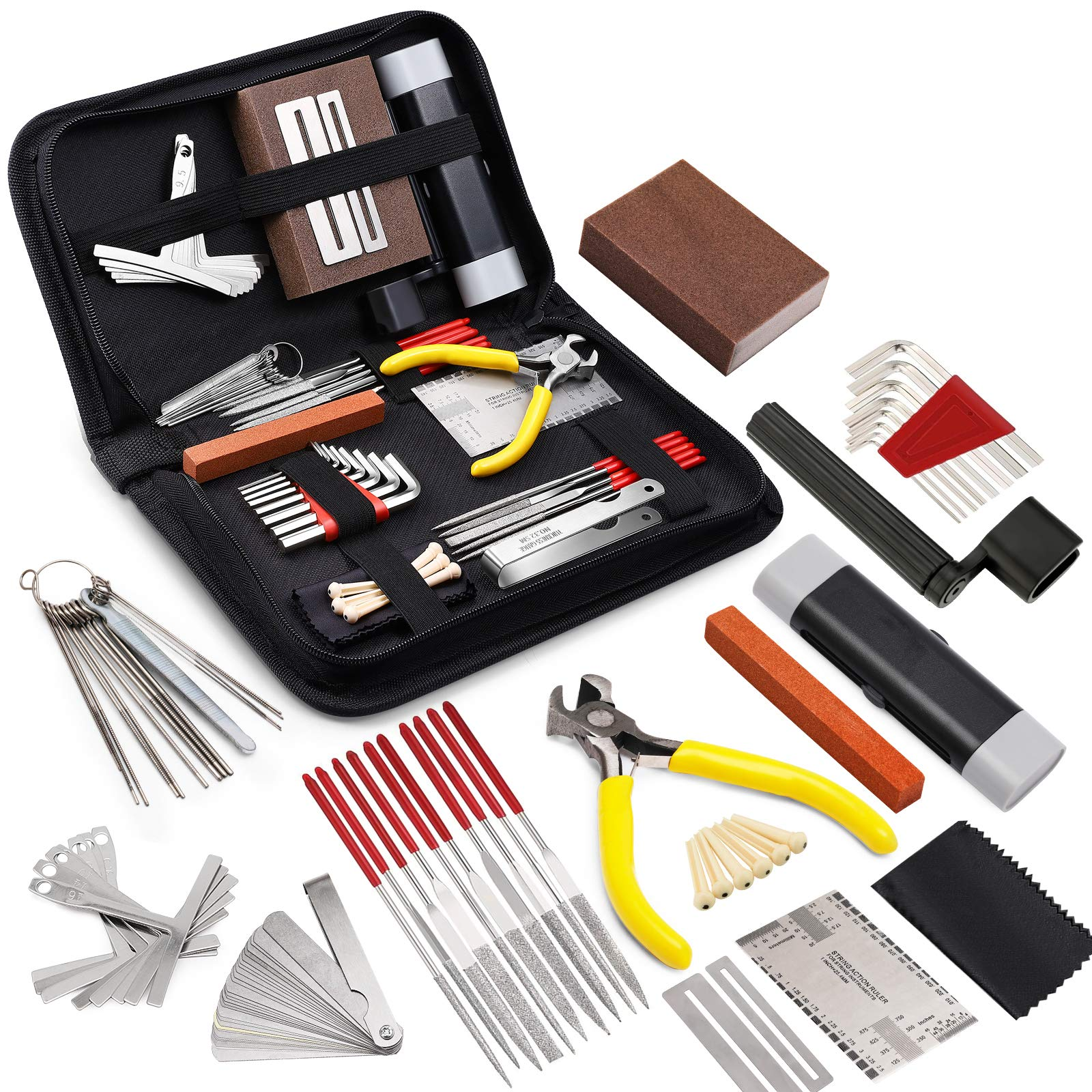 MIFOGE 45Pcs Guitar Repairing Maintenance Tool Kit with Carry Bag Large Care Set of Tools For Acoustic Guitar Electric guitar Ukulele Bass Banjo,Perfect Gift for Music or String Instrument Enthusiast
