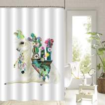 """MitoVilla Mexican Llama Shower Curtain Set, Alpaca with Ethnic Blanket, Cactus and Boho Feathers Bathtub Decoration for Women and Baby Girls Llama Gifts, Beige, Green, 72"""" W x 78"""" L"""