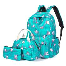H HIKKER-LINK Unicorn School Backpack Set Bookbag&Lunch&Pencil Bag Water Blue
