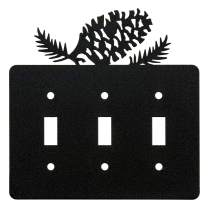 Pine Cone Triple Toggle Light Switch Wall Plate (Triple Toggle, Black)