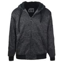 Leehanton Men's Sherpa Hoodie Full Zip Jacket Fleece Lined Sweatshirt