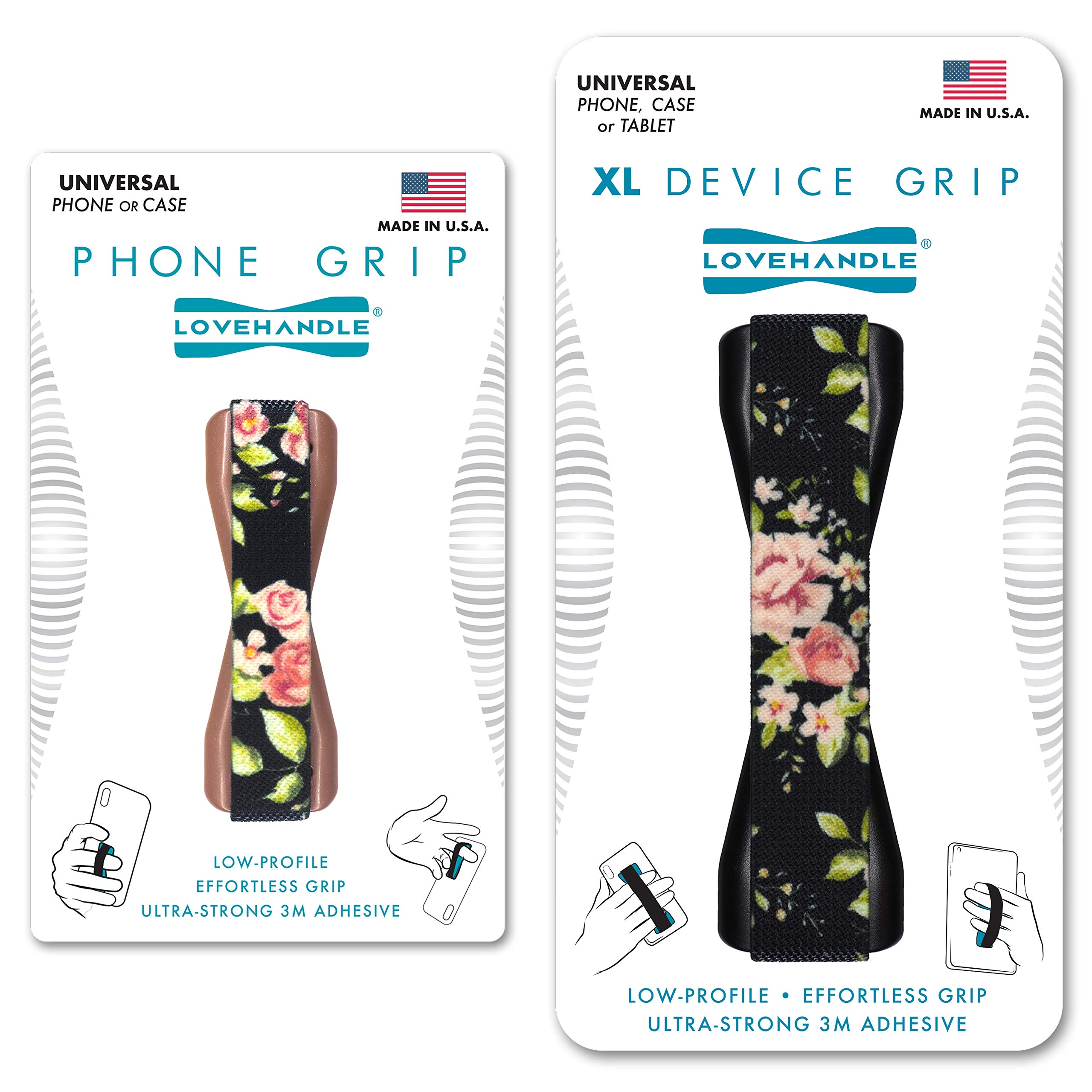 LoveHandle Duo Grip for Smartphone and Tablet - Vintage Rose Design Elastic Strap Original Grip with Rose Base + XL Grip with Black Base