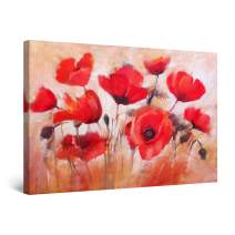 """Startonight Canvas Wall Art Abstract - Red Poppies in Time Painting - Large Framed 32"""" x 48"""""""