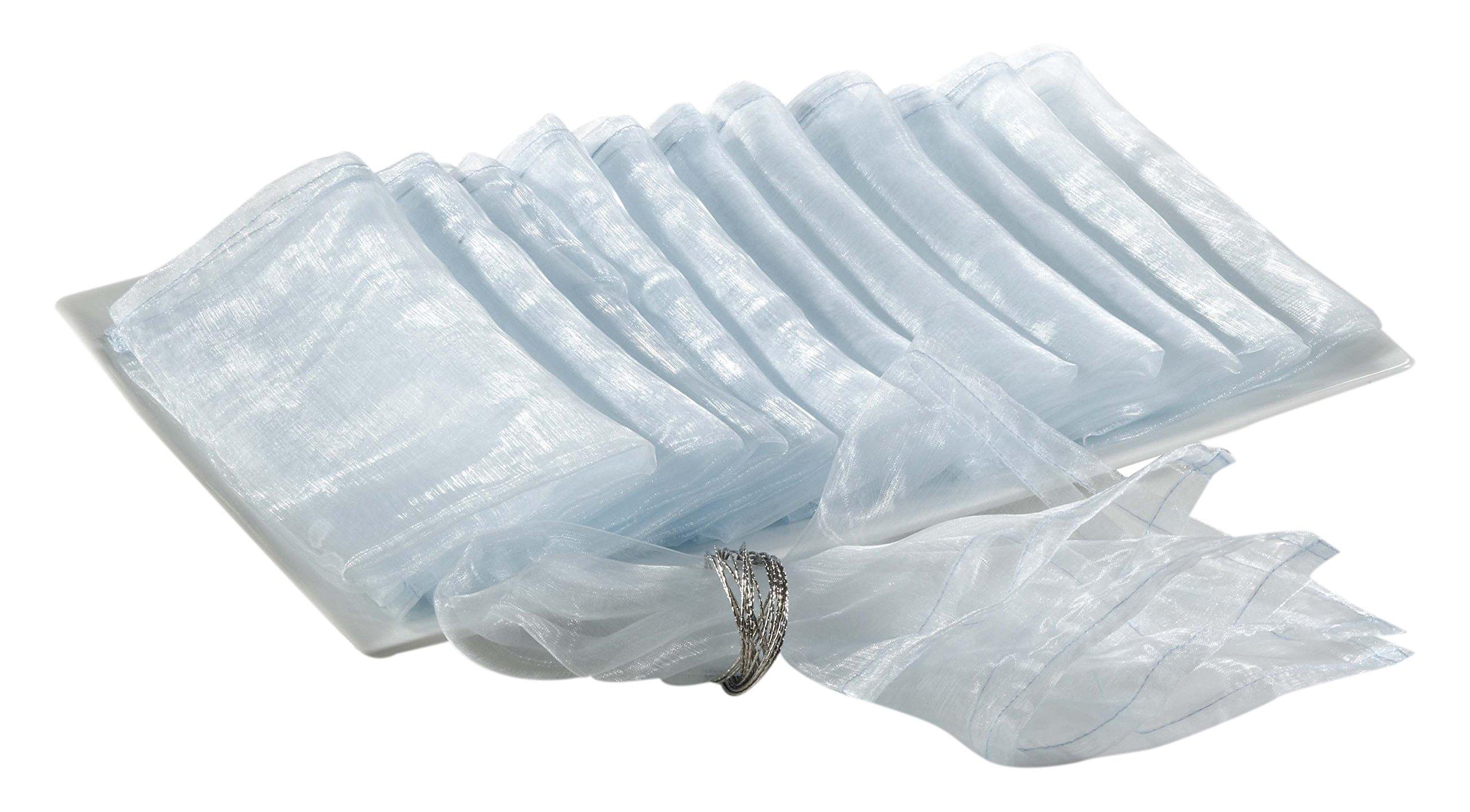 "SARO LIFESTYLE 1002 Sorbet Collection Aqua Polyester Organza Dinner Napkin-Sold per 12, 20""x20"" Square"
