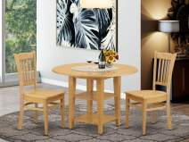 3 Piece Sudbury Set With One Dinette Table And Two Dinette Chairs With Wood Seat In A Rich Oak Finish.