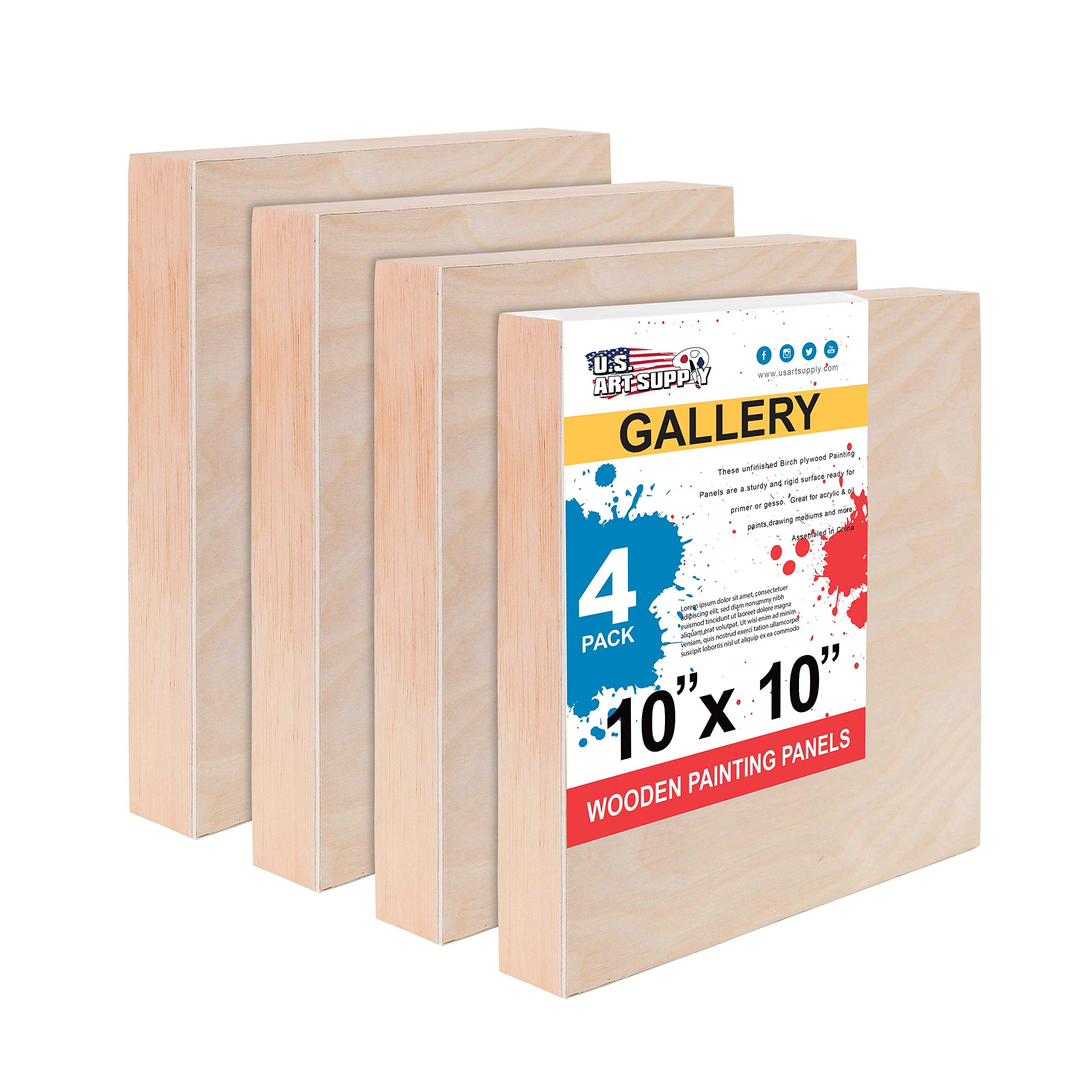 """U.S. Art Supply 10"""" x 10"""" Birch Wood Paint Pouring Panel Boards, Gallery 1-1/2"""" Deep Cradle (Pack of 4) - Artist Depth Wooden Wall Canvases - Painting Mixed-Media Craft, Acrylic, Oil, Encaustic"""