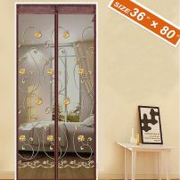 Spritech [Embroider Flower Style] French Screen Doors,Advanced Magnetic Heavy Duty Mesh Fit Your Door Size 34W X 79H Inch with Full Frame Privacy Insect Fly Screen Mesh(36 X 80 Inch, Gray)