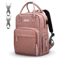 Diaper Bag Backpack Upsimples Multi-Function Maternity Nappy Bags for Mom&Dad, Baby Bag with Laptop Pocket,USB Charging Port,Stroller Straps -Pink