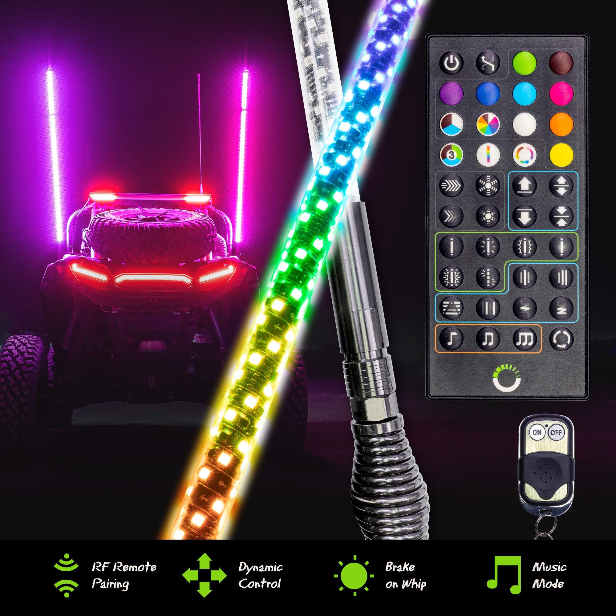 2pc 5ft Spiral LED Whip Lights for UTV ATV [RF Remote Pairin] [Dynamic LED Control] [Brake-On-Whip] [2-Layer PVC] LED Lighted Whips Antenna for RZR Can-Am Polaris UTV ATV Accessories
