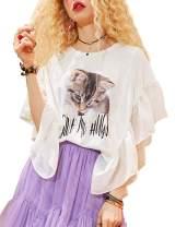 Elf Sack Women's Summer Tops Crew Neck Short Ruffled Sleeves Front Funny Printed Chiffon Cat Shirt Blouse T-Shirt
