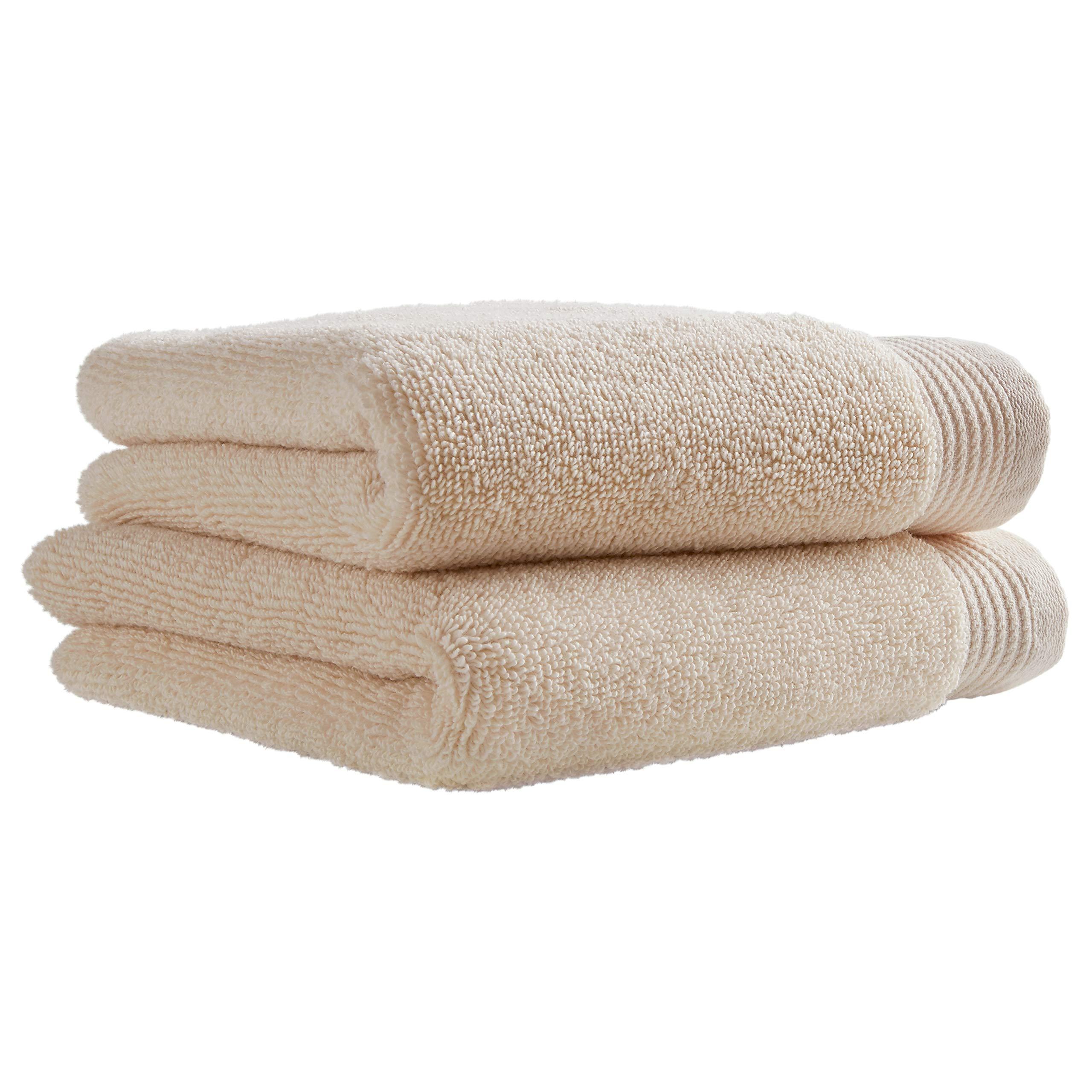 Amazon Brand – Stone & Beam Organic Cotton Hand Towel Set, Set of 2, Ivory