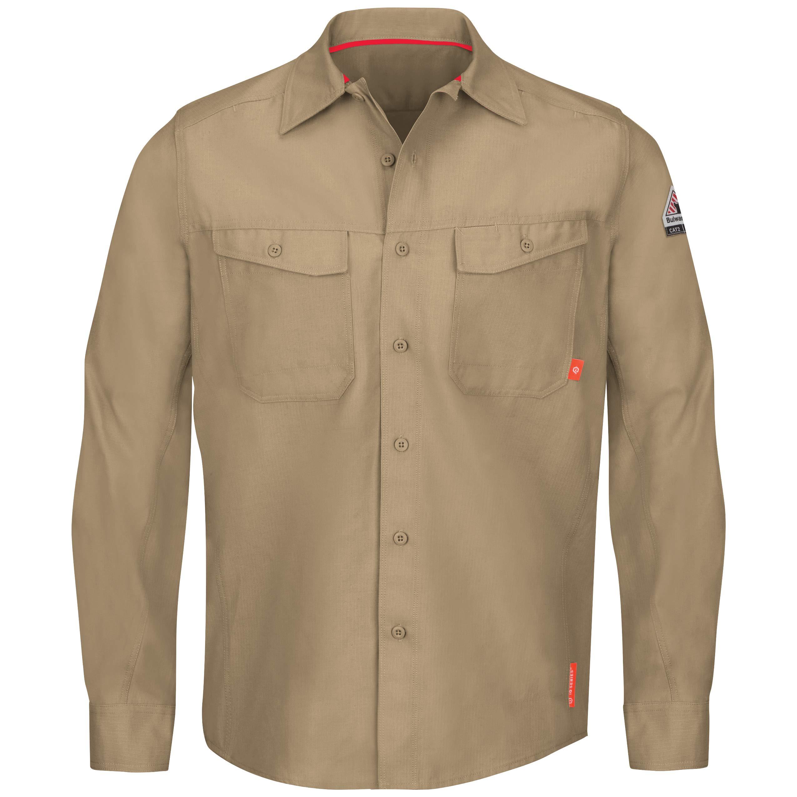 Bulwark Men's Iq Series Endurance Work Shirt, Khaki, 3X-Large