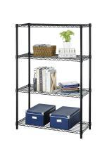 4Shelf Wire Shelving Unit Garage NSF Wire Shelf Metal Large Storage Shelves Heavy Duty Height Adjustable Utility Commercial Grade Steel Layer Shelf Rack Organizer 1000 LBS Capacity 14x36x54,Black