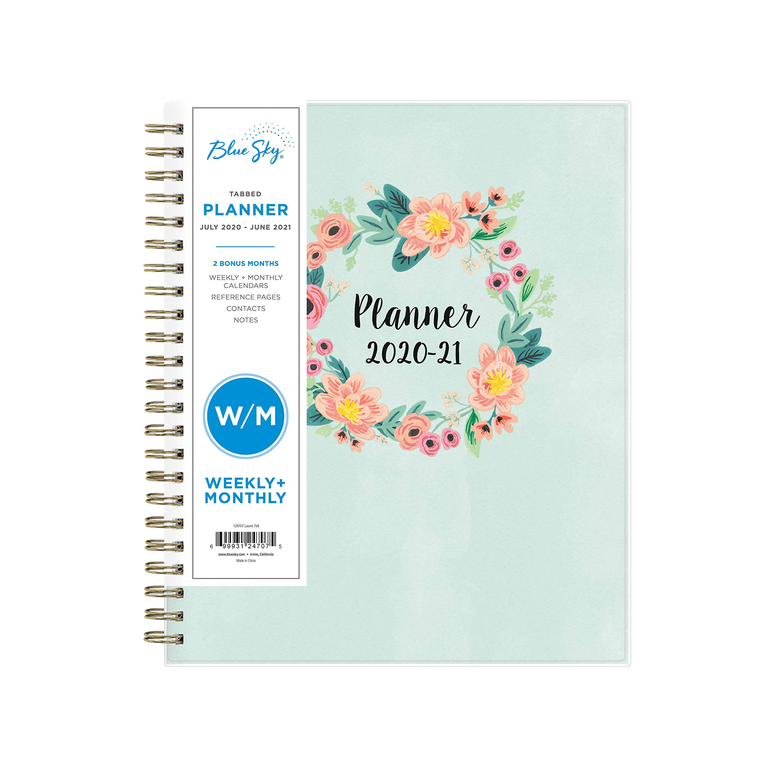 """Blue Sky 2020-2021 Academic Year Weekly & Monthly Planner, Flexible Cover, Twin-Wire Binding, 7"""" x 9"""", Laurel"""