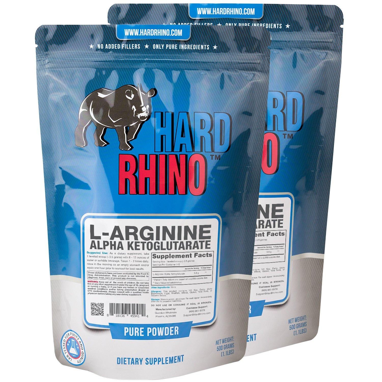 Hard Rhino L-Arginine Alpha Ketoglutarate (AAKG) Powder, 1 Kilogram (2.2 Lbs), Unflavored, Lab-Tested, Scoop Included