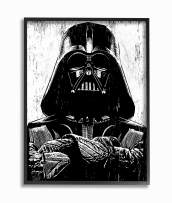 The Stupell Home Décor Collection Black and White Star Wars Darth Vader Distressed Wood Etching Framed Giclee Texturized Art, 11 x 14, Multi-Color